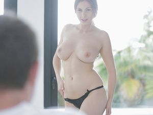 Voluptuous Beauty Sucks And Strokes His Stiff Cock