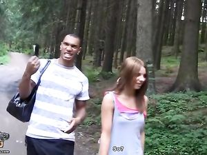 Amateur Girl Fucks Two Guys In The Woods For Cash