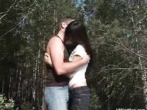 Skinny Teen Fucked In The Woods By Her Boyfriend