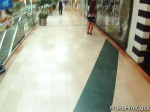 Euro Beauty Blows Him Lustily In A Public Bathroom