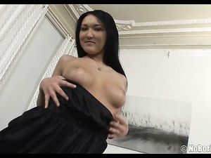 Stockings Beauty Eagerly Blows Two Guys At Once