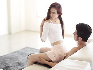 Asian Redhead In A Miniskirt Arouses Him To Fuck