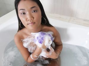 Asian Coed Spreads In Bed For Hardcore White Dick Sex