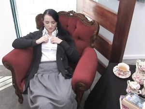Hairy Schoolgirl Masturbates During Afternoon Tea